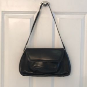 Black leather clutch made in Italy